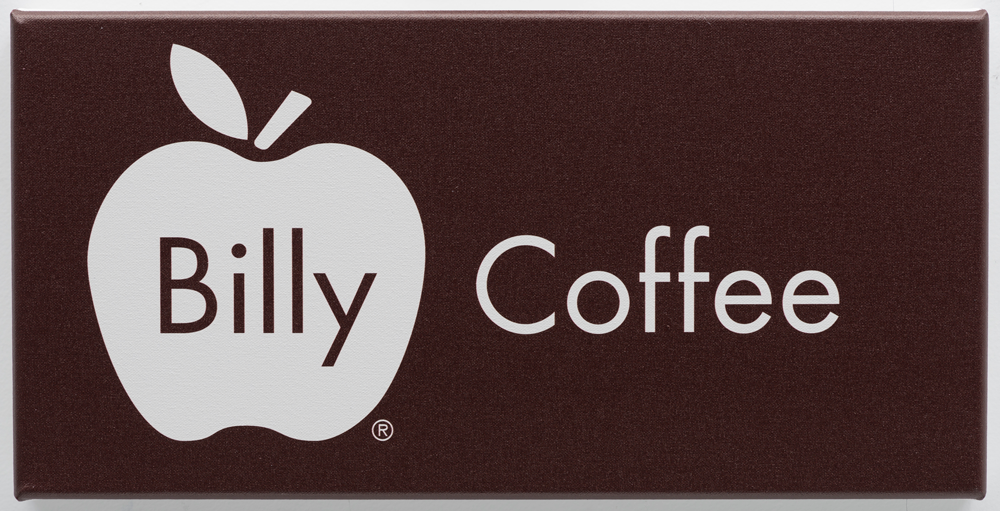 Billy Apple ®, Coffee, 2016, UV impregnated ink on canvas, 236mm x 472mm