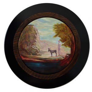 Biblical Rock Concept, 2016, oil on board, 190mm diameter