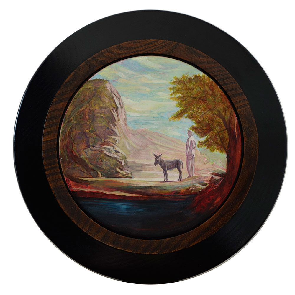 Biblical Rock Concept, 2016, oil on board, 190mm diameter