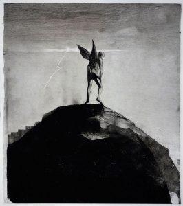 Milton's Discharge, 2017, monoprint, 325 x 257mm