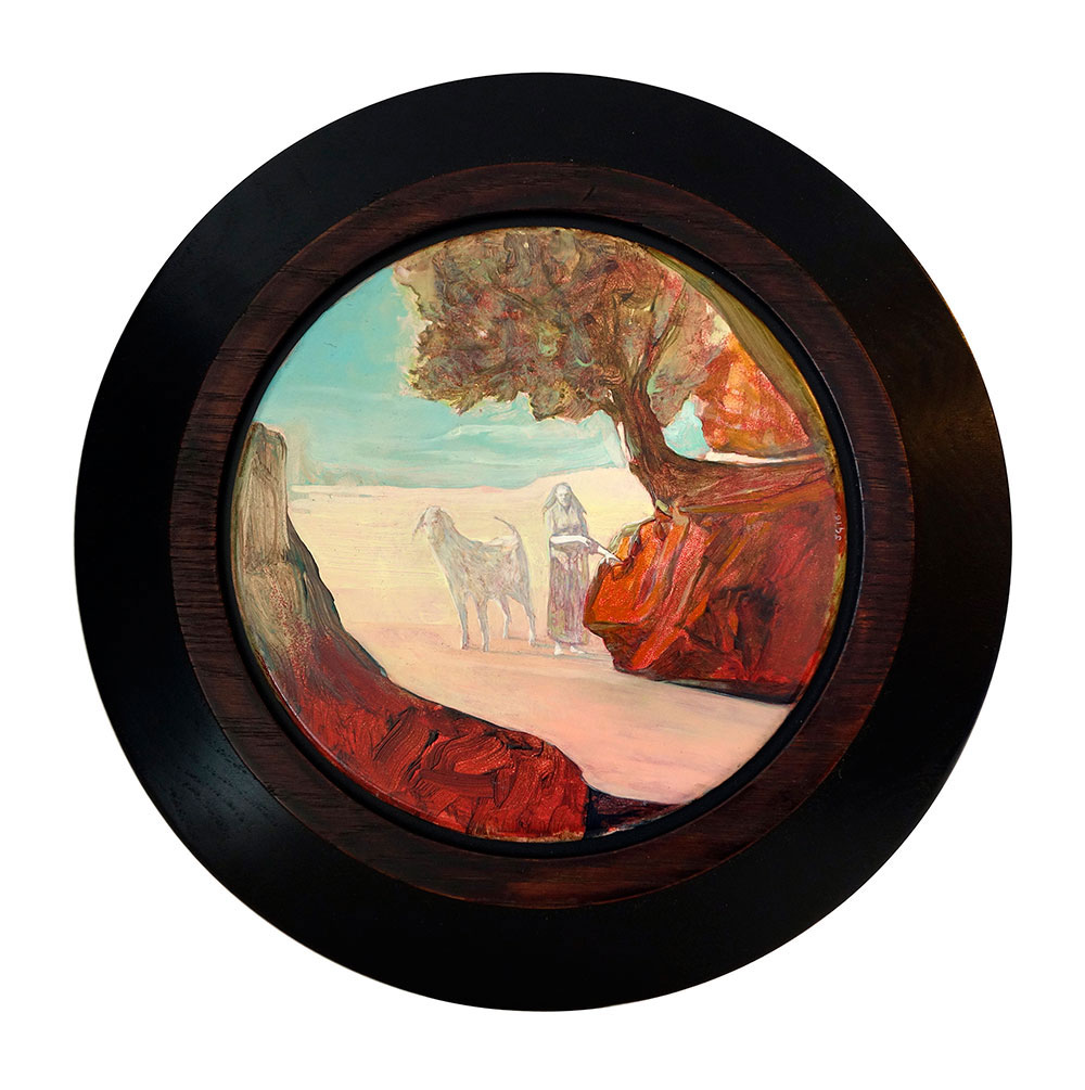 The Herdsman, 2016, oil on board, 190mm diameter