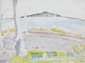 Rangitoto II, 1987, pencil, watercolour, pastel, 560 x 760mm