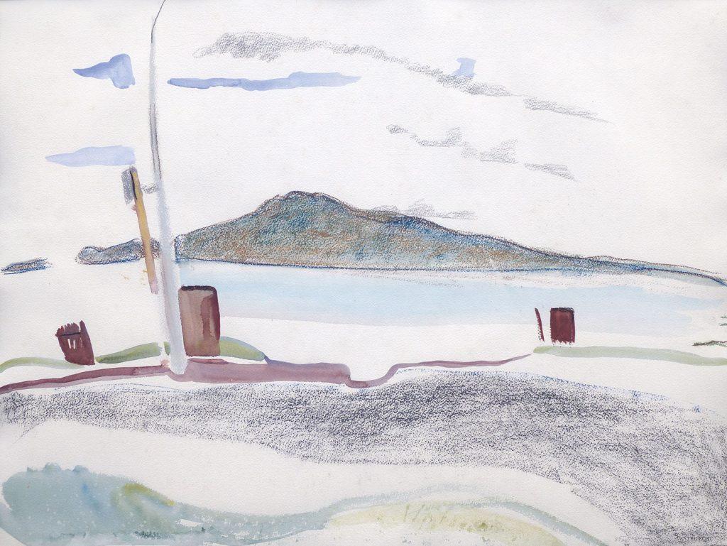 Rangitoto VI, 1987, pencil, watercolour, pastel, 560 x 760mm