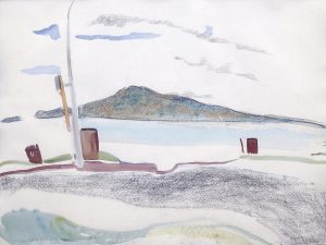 Rangitoto VI, 1987, pencil, watercolour, pastel, 560 x 760mm