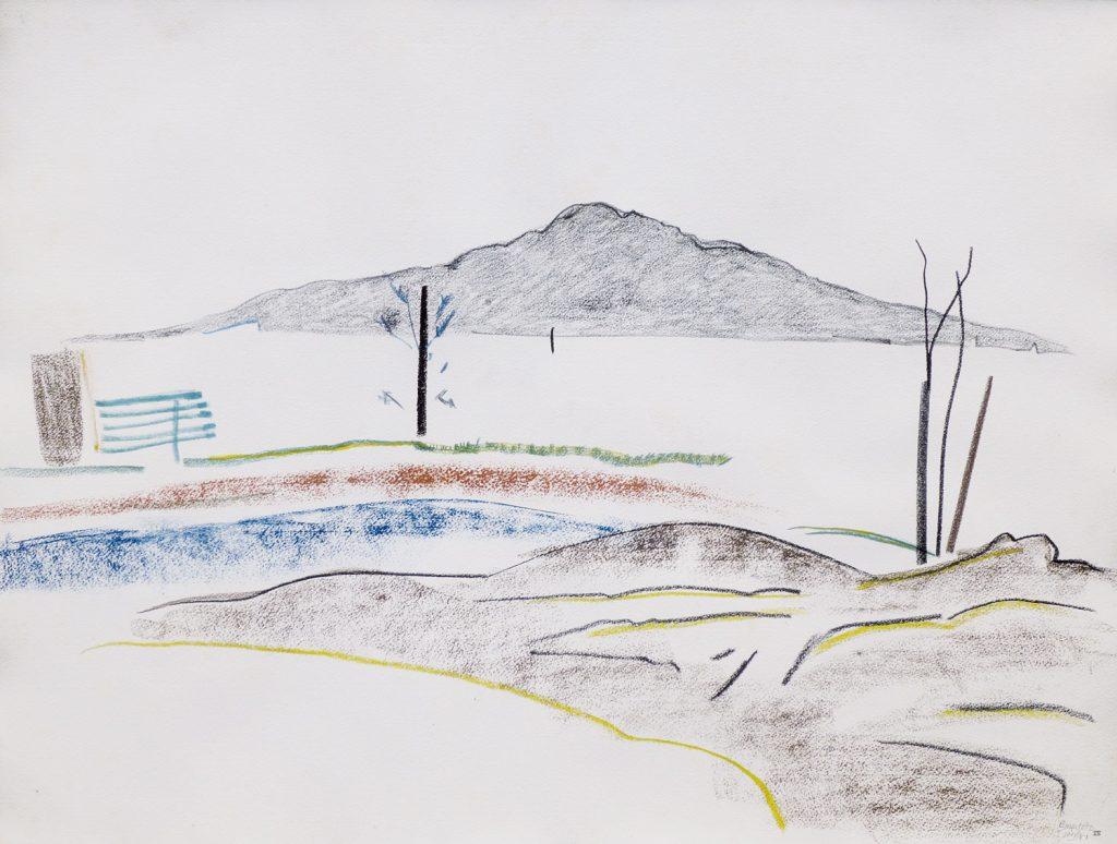 Rangitoto VII, 1987, pencil, watercolour, pastel, 560 x 760mm