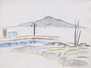 Rangitoto VII, 1987, pencil, watercolour, pastel, 560 x 760mm