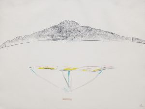 Rangitoto XII, 1987, pencil, watercolour, pastel, 560 x 760mm