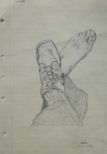 BVC Feet, 1976, ink on refill paper