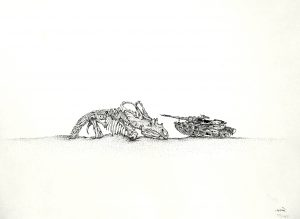 Tank and Triceratops, 1991, ink on paper