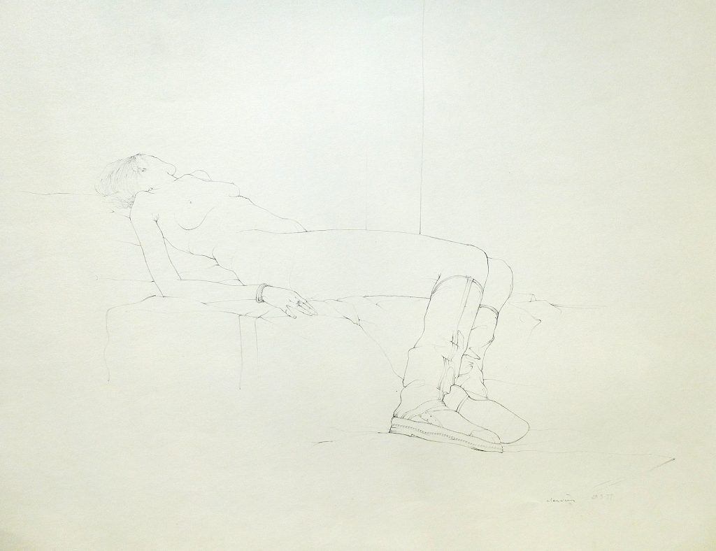 Untitled - Live Drawing (boots looking away), 1977, pencil on paper