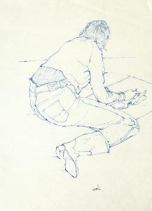 Untitled - Live Drawing (blue ink), c.1970's, ink on paper