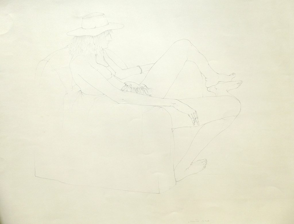 Untitled - Live Drawing (cowboy hat), 1976, pencil on paper