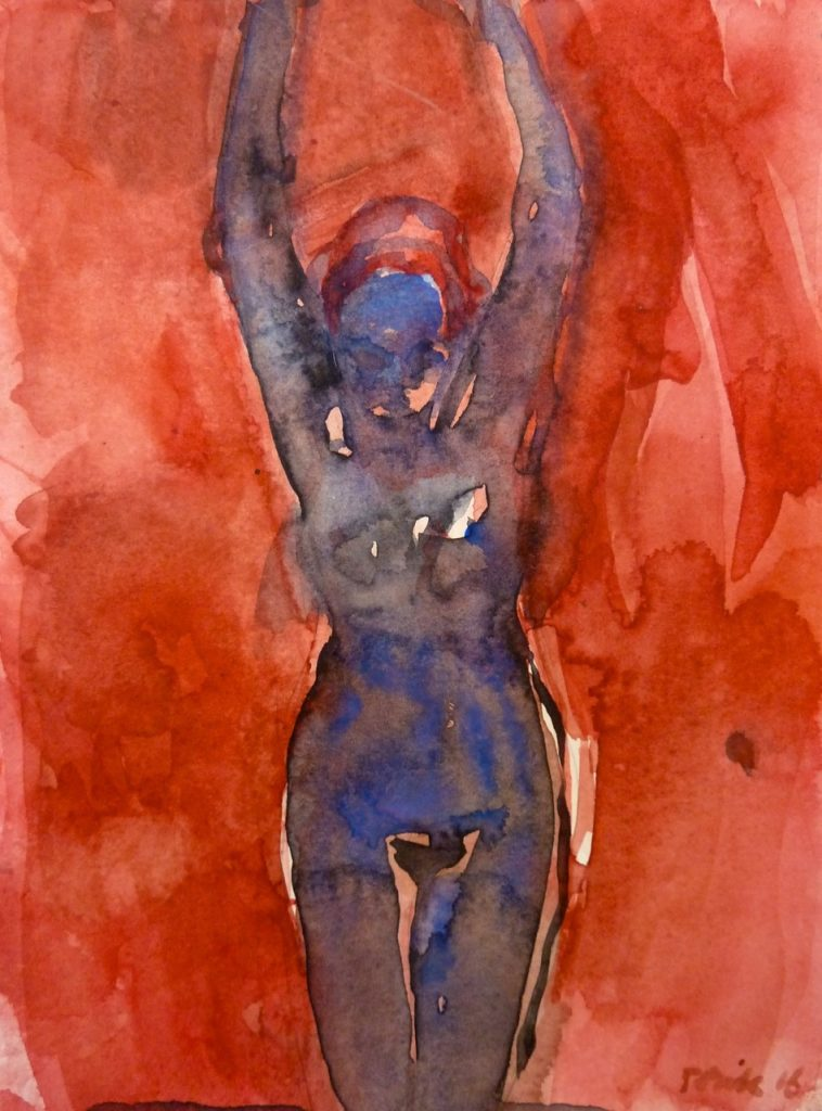 Blue Woman, 2016, watercolour on paper, 235 x 180mm