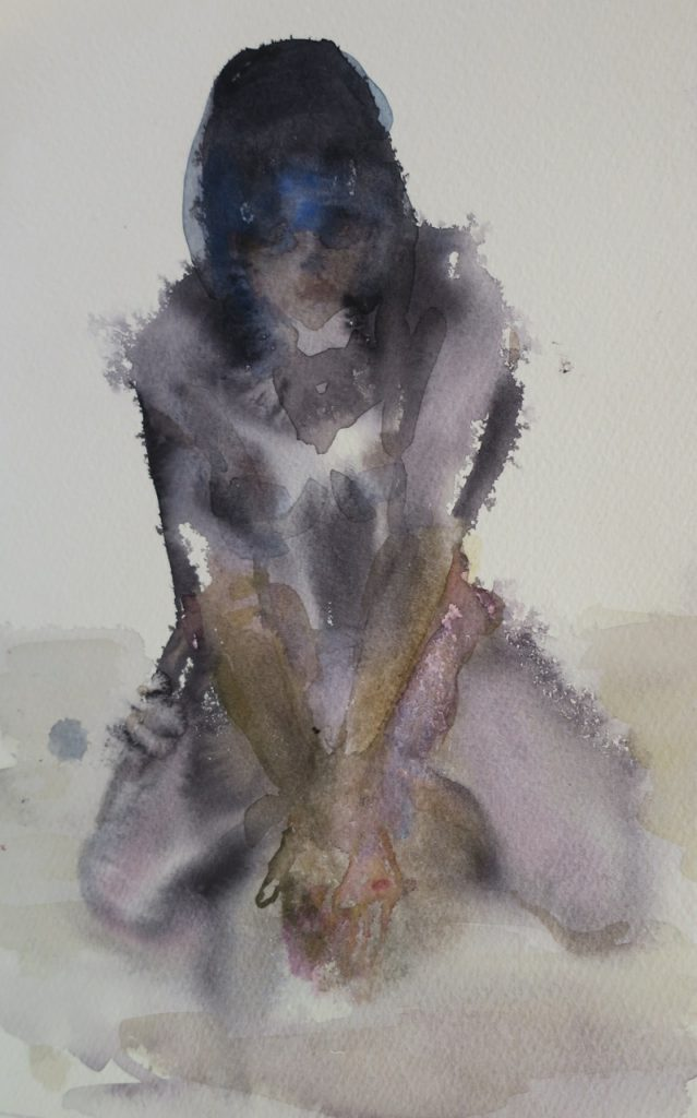 Kneeling Woman, 2016, watercolour on paper, 270 x 190mm