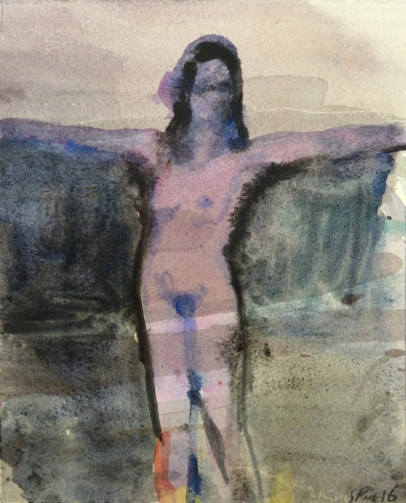 Purple Woman, 2016, watercolour on paper, 190 nx 150mm