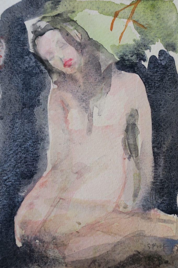 Slumped Woman, 2017, watercolour on paper, 180 x 120mm