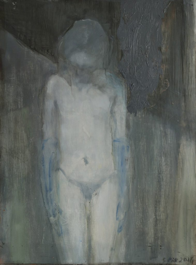 Subdued Woman, 2017, oil on board, 398 x 288mm