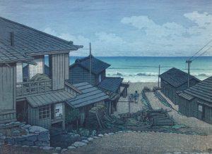 Kawase Hasui - Cloudy Day in Mizuki, Ibaraki Prefecture, 1946.