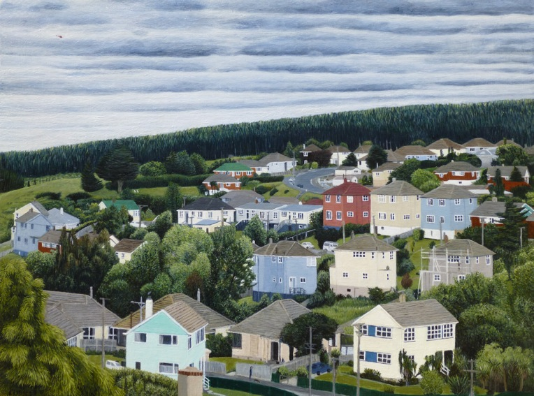 View Towards Lookout Point with Helicopter, 2017, acrylic on board, 300 x 400mm