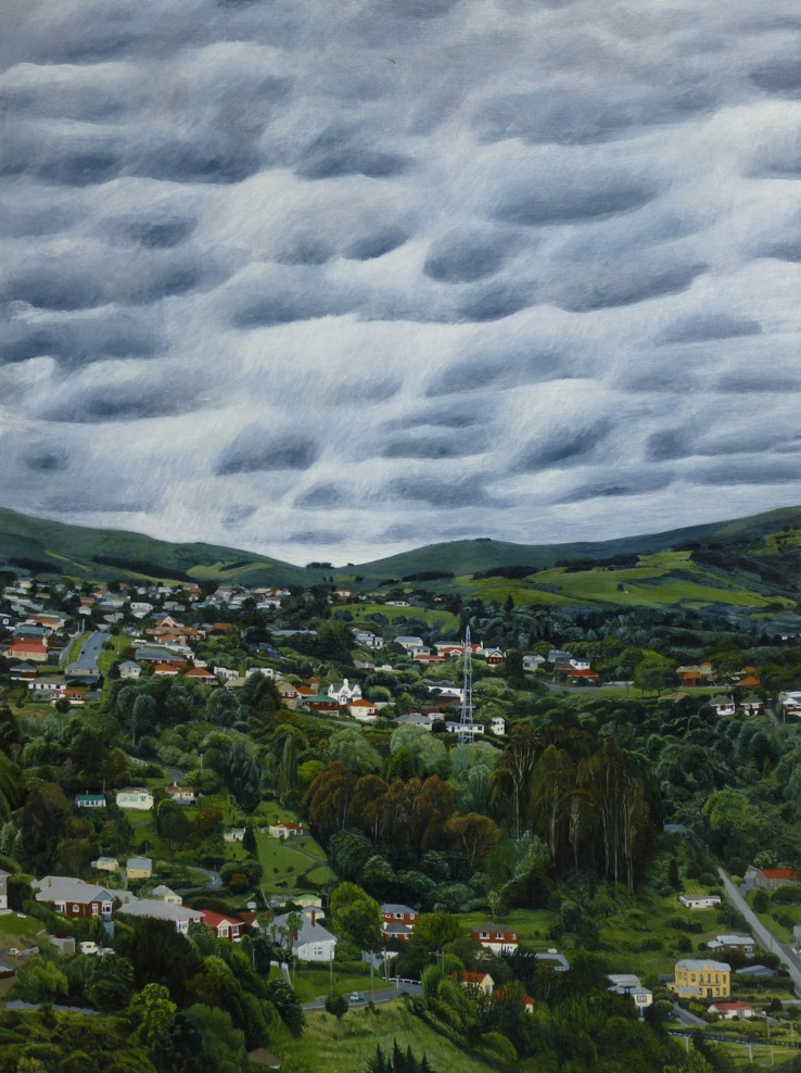 View Towards Mornington with Helicopter, 2017, acrylic on board, 640 x 480mm