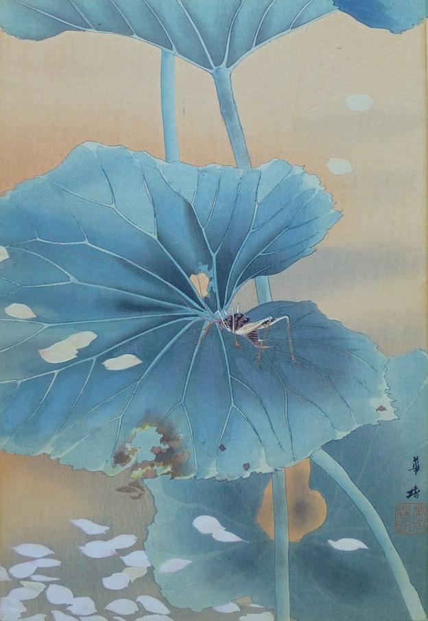 Kako Tsuji - Bush Cricket with Falling Blossoms, c. 1921