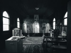 Interior, St. Michael's Orthodox Church, St. Kilda, Dunedin, 16 April 1999. [silver gelatin, gold & selenium toned. 1999/4]