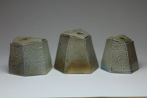 Chris Weaver - Faceted Lidded Jars, salt glazed, 2017