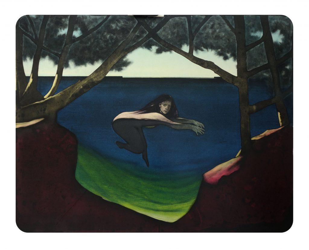 Jason Greig Psychic Sea II, 2018, monoprint, 530 x 675mm