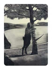 Jason Greig Treehugger Freudian Slip, 2018, monoprint, 480 x 330mm